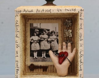 "Assemblage Art Shrine Shadow Box Found Objects Mixed Media Miniature Vignette ""Harmonious Trio"""