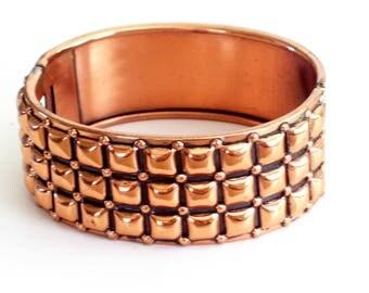 Modernist Renoir Bracelet, Rare Vintage RENOIR Copper Modernist Geometric Squares Hinged Bangle Bracelet, Renoir Jewelry, MCM Copper