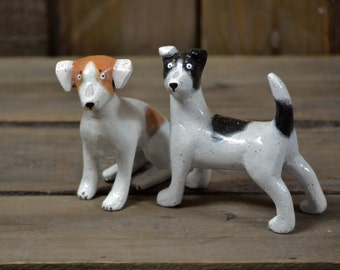 Combo of two Jack Russel dog sculptures - brown and white - figurine handmade air-dry clay (ooak)