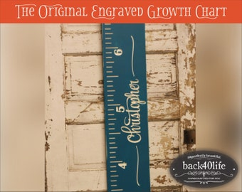 """SALE!! Engraved wood ruler growth height chart (The Christopher) - premium engraved lettering 60"""" (GC-60Chr) children kid baby nursery"""