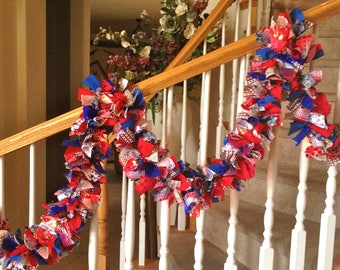 10foot Traditional Red White Blue Americana Garland with lights,Fabric garland,Party Decoration,Rag Garland,4th of July Decoration,Patriotic