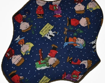 Light Hemp Core- Charlie Brown Christmas Reusable Cloth Pantyliner Pad- WindPro Fleece- 8.5 Inches