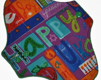 Light Hemp Core- Happy Hanukkah Reusable Cloth Pantyliner Pad- WindPro Fleece- 8.5 Inches