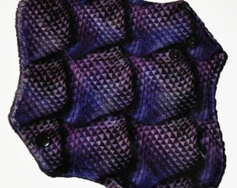 Light Hemp Core- Purple Scales Minky Reusable Cloth Pantyliner Pad- WindPro Fleece- 8.5 Inches