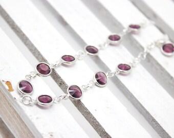 Birthstone Bracelet, Amethyst Crystal Bracelet, February Birthstone,Choose your Birthstone Color