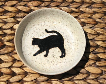 Ceramic CAT Bowl - Food Water Bowl - Handmade Speckled Oatmeal Stoneware Cat Bowl - Black Cat Silhouette - Ready To Ship