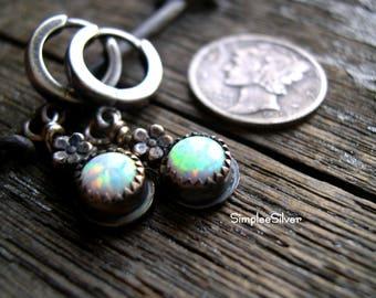 RESERVED  -  Opal Earrings  -  Flower Earrings  -  Sterling Earrings  - Rustic Earrings  - hoop earrings  - simpleesilver  - dangle earrings