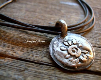 Jewelry  -  Large Pendant Necklace  -  Fine Silver Spiral Sun Pendant  -  Leather Choker  -  Rustic Necklace  -  Boho Chic Necklace