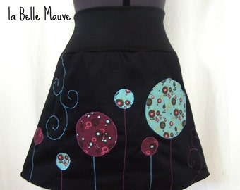 Skirt Yuki bubbles with flowers turquoise