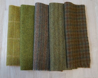 Moss - Chartreuse - Green Wool Fabric - Hand Dyed and Felted Wool Bundle Fabric - Applique - Rug Hooking
