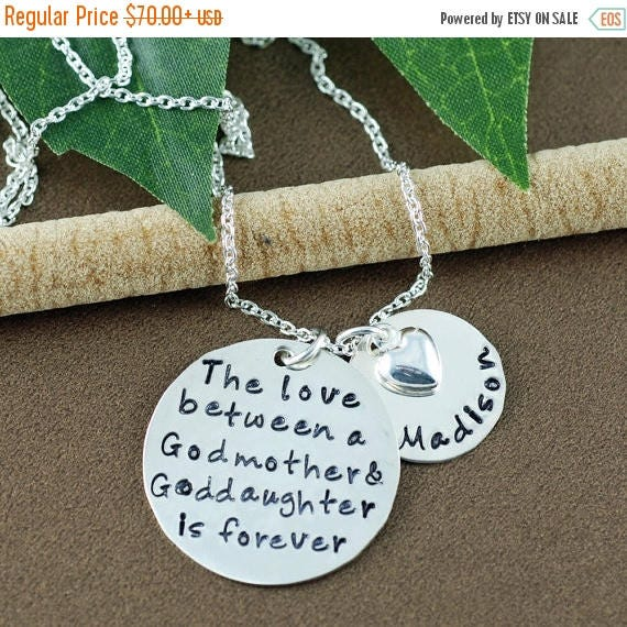 15% OFF SALE The love between | Godmother & Goddaughter Necklace | Hand Stamped Necklace | Godmother Jewelry | Personalized Jewelry | Gift f