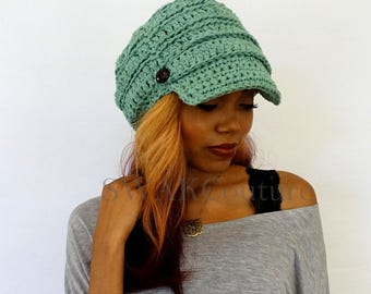 Cotton Slouchy Hat Newsboy Slouchy Brim Cap Handmade 100% cotton Nina Cap - Mint Green or CHOOSE Your color