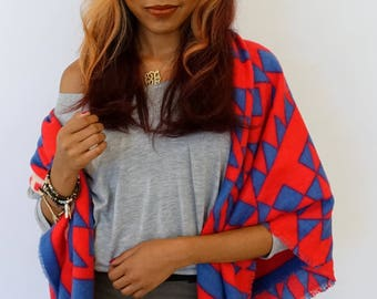 Blanket Scarf Oversized Cream Blue & Red Shawl Scarf Wrap Chevron Arrow Block Print Large Square Womens Scarf - CHOOSE Color