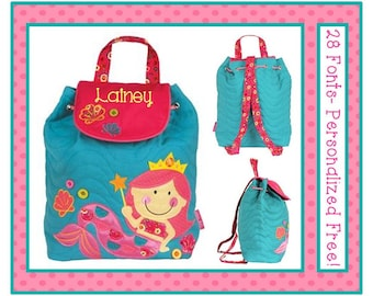 28 Fonts- MERMAID PRINCESS Girl's Pink Quilted Backpack- Day Care, Kindergarten, Preschool, School Bag
