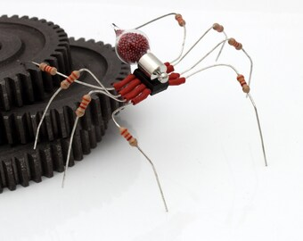 Unique Steampunk Recycled Spider- Scarlet- Upcycled red resistor chip electrical component spider desk sculpture- gifts for him