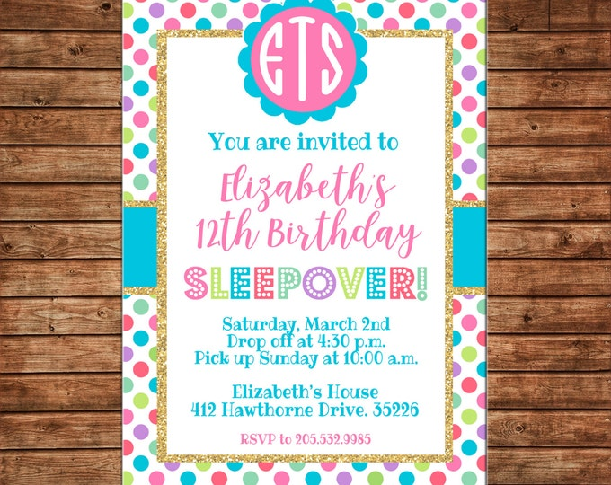 Glitter Gold Multi Polka Dot Tween Teen Sleepover Monogram Birthday Party Invitation - DIGITAL FILE