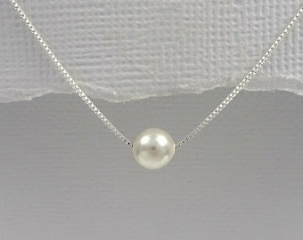 Ivory Pearl Necklace, Sterling Silver Necklace, Swarovski Ivory Pearl Necklace, Bridesmaid Necklace, Wedding Necklace, Floating Pearl