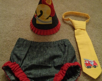 Little Fireman Smash Cake Bloomers, Tie and Birthday Hat