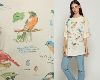 Bird Shirt 90s SPARROW Animal TShirt All Over Print Vintage Retro T Shirt Graphic Tee Wilderness Screen Print 1990s t shirt Large xl