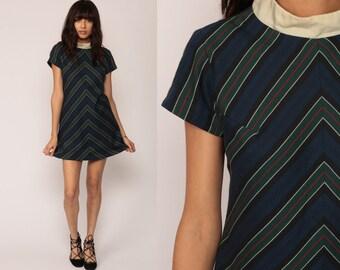 60s Mini Dress Space Age CHEVRON STRIPE Mod Shift 1960s Twiggy High Neck 70s Navy Blue Green Vintage Gogo Short Sleeve Medium