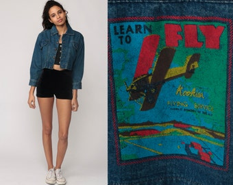 80s Denim Jacket LEARN TO FLY Jean Jacket Airplane Print Vintage Trucker Blue Cropped Plane Button Up 90s Hipster Coat Small