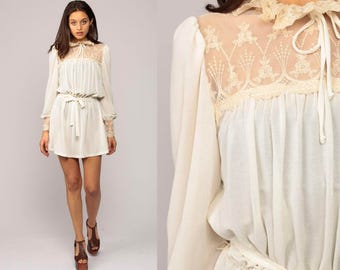 Victorian Dress 70s Sheer LACE Yoke Boho Mini High Collar Party 1970s Bohemian Vintage Long Puff Sleeve Waist Cream Off White Small Medium
