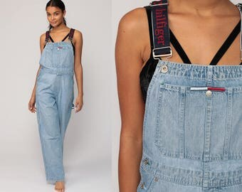 Tommy Hilfiger Overalls Pants 90s Streetwear Denim SPELLOUT Pants Bib Baggy Spell Out Long Jean Pants 1990s Hipster Vintage Dungarees Medium