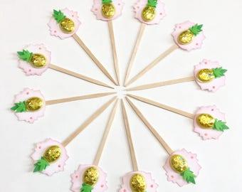 Pineapple Splash - Cupcake Toppers