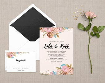 The 'Cassandra' Romantic Watercolour Floral Wedding Invitation Suite (Sample)
