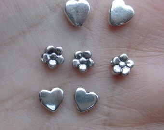 Sterling Silver Heart or Flower Beads(2,4, or 6 beads)