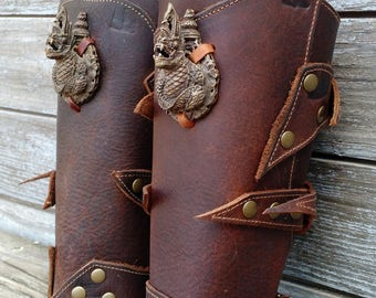 Primitive Oiled Brown Leather Peaked Bracer with Vintage Metal Dragon
