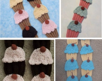 crochet  cupcake scarf chocolate   cherry SALE,\. more colors