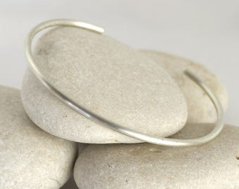 Matte Silver Cuff Bracelet, Silver Stacking Bangle, Brushed Layering Bracelets