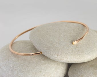Smooth Rose Gold Cuff, Simple Rose Gold Bangle, Stacking Bracelet in Gold Fill