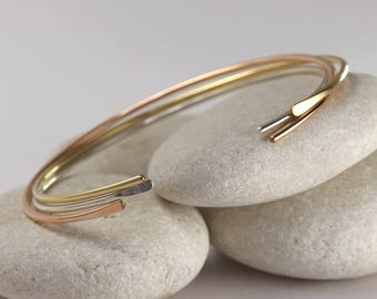 3 Smooth Cuff Bangles in Mixed Metals, Simple Cuff Bracelets, Custom Sized
