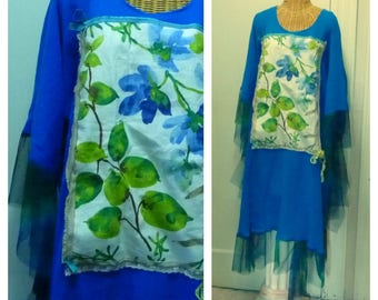 Royal Blue Dress Plus Sizes Large to 6X Green Collage Linen Print Lagenlook Art To Wear Womens Boho Cotton Gauze Sleeves Sari Silk Mesh Hem