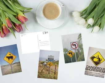 Funny postcards, art postcards, postcard set, art postcards, postcard prints, funny signs, funny cards, beach signs, goat sign, cow sign