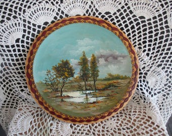 Romanian Hand-painted Country Scenery Folk Art Wood Carved Wall Decoration Beautiful!!! Wood Plate