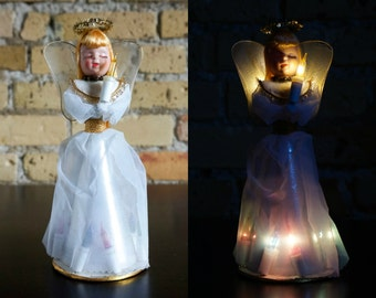 Vintage 1960s Christmas Decoration / Lighted Angel Tree Topper or Table Shelf Decor / Colored Lights, Gold Halo, Angel Wings