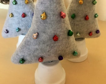 Gray Felt Material Stuffed Christmas Trees with Mini Jingle Bells and Terra Cotta Pot Trunks
