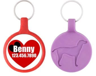 Red and Black Hearts Silver Custom Personalized Dog ID Pet Tag Custom Pet Tag You Choose Tag Size & Colors