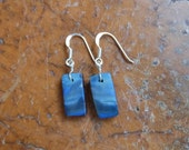 Earrings in blue Boulder Opal - unique handmade in Australia - natural stone earring - simple light one of a kind ooak