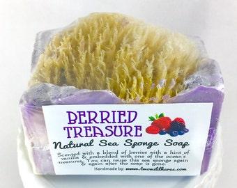 BERRIED TREASURE, Natural Sea Sponge Soap, 4.25 oz