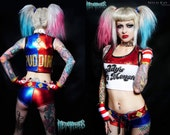 Metal Threads Harley Quinn Suicide Squad custom made to order outfit top & shorts daddys lil monster puddin spandex cosplay costume dc comic