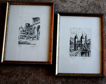 Vintage Prints Etchings German Heidelberg Germany Numbered Signed Palace Otho Heidelberg University Old Town Set of Two