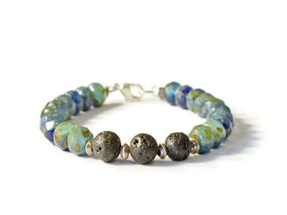 Natural Lava Rock & Czech Glass Aromatherapy Diffuser Bracelet,  Essential Oil Jewelry