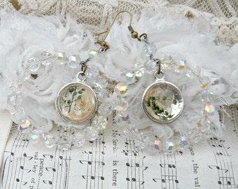hoop earrings assemblage winter dried flower upcycled crystal vintage jewelry circles