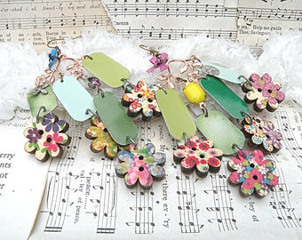 spring tin earrings hippe boho floral assemblage repurposed cottage chic gypsy jingle jangle