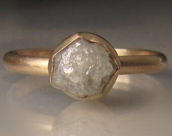 Raw Diamond Engagement Ring, Raw Diamond Ring, 14k Yellow Gold Rough Diamond Ring , 1.90 Carats
