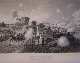 Antique Print of the Battle of Gettysburg